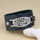 Script Monogram on Leather Wrist Band