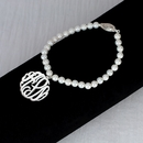 7�  5mm Fresh Water Pearl Bracelet With 7/8 Monogram