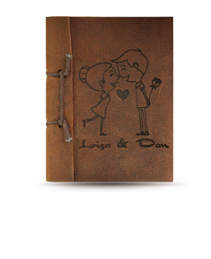 """Brown Antiqued Leather Personalized """"Love"""" Note Book"""