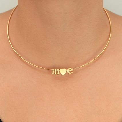 Choker with 2 initials and Heart or Ampersand