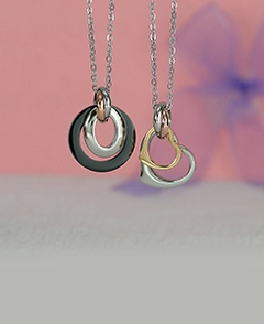 Circle, Oval and Hearts Couple Pendants