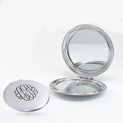 Circular Monogram Compact Pocket Mirror
