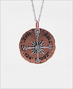 Compass With Coordinates Necklace