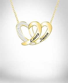 "Diamond Accent 2 Heart Pendants with 18"" Link Chain"