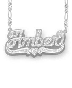 Double-Plate Beaded Amber Name Necklace