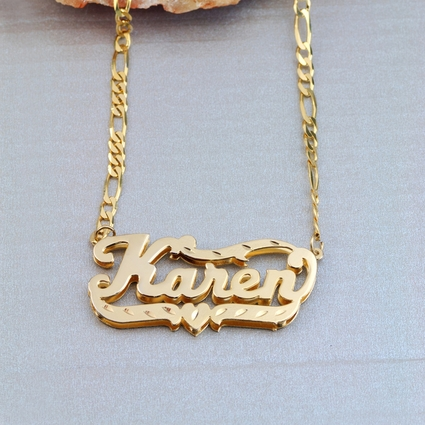 "Double-Plate Diamond-cut Name Necklace ""Karen"" Name Plate Earrings"