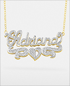 """Double-Plate Rhodium Beaded Name Necklace """"Maria"""""""