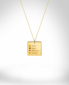 Family and mom square necklace