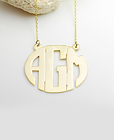 Gold Block Monogram Necklace