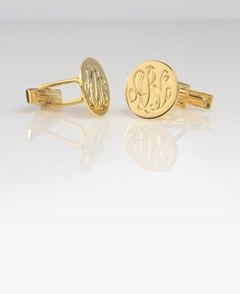 Gold Engraved Monogram Cuff Links