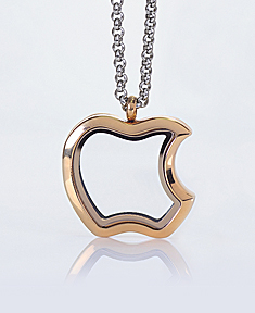 Gold Plated Apple Locket with 4 Floating Motifs of your choice