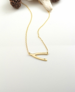 Wishbone Necklace with Swarovski Crystal