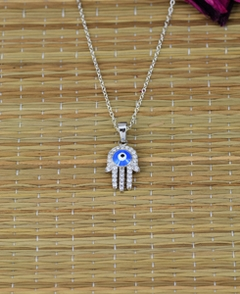 Hamsa Pendant Necklace with Cubic Zirconia Stones