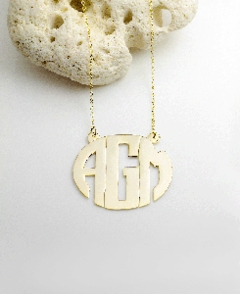 Block Monogram Pendant w/ Split Chain
