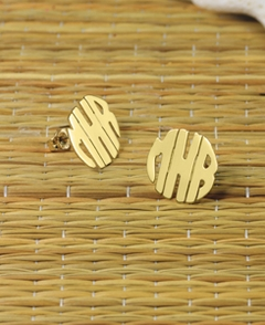 Gold Handmade Block Monogram Stud Earrings