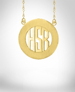 Encircled Block Monogram Pendant with Split Chain