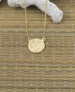 Engraved Monogram Pendant w/ Split Chain