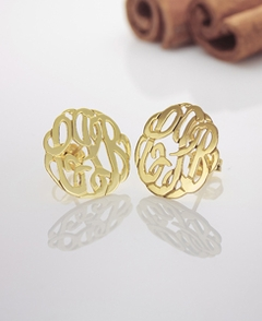 Gold Handmade Script Monogram Stud Earrings