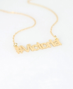 Gold Hashtag #Name Necklace