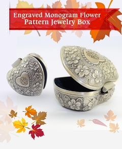 Engraved Monogram Flower Pattern Jewelry Box