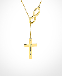 Lariat Infinity with Engravable Cross