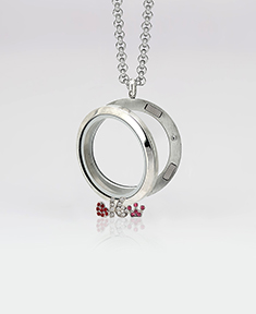 Large Circle Locket 3cm with 4 Floating Motifs of your choice