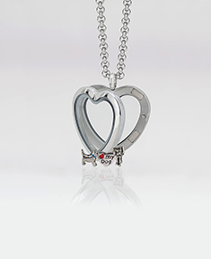 Heart Locket 3cm with 3 Floating Motifs of your choice