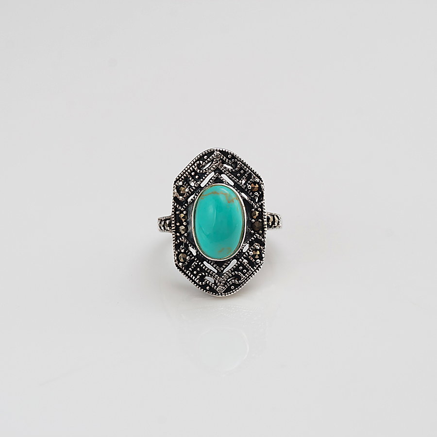 marcasite ring with turquoise