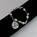 Silver Monogram on Stainless Steel with Faux Pearls Bracelet