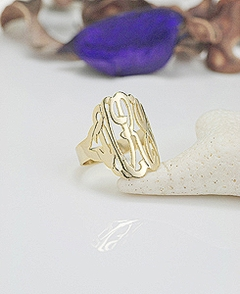 Gold Monogram Ring 7/8 inch