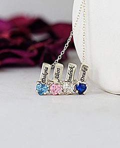 """Mother's Necklace w Heart Shape Birthstone Charm & 18"""" Link Chain"""