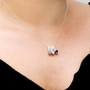 Mother's Necklace w Heart Shape Birthstone Charm