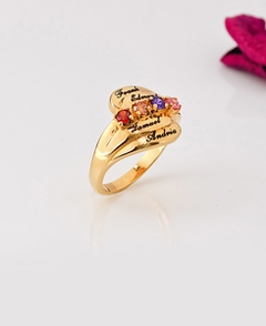 Mother's Ring with Stones & Engraving