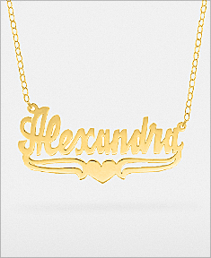"""Name Necklace w/ Lower Tails & Heart """"Alexandra"""""""