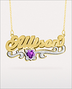 """Name Plate with Heart Shaped Birthstone """"Nicole"""""""