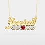 "Name Plate with Heart Shaped Birthstone ""Jessica"""