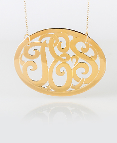 Encircled Gold Monogram Necklace