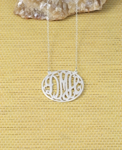 "Personalized 24K Gold over Silver Monogram Necklace.925 1 1/4"" wide"