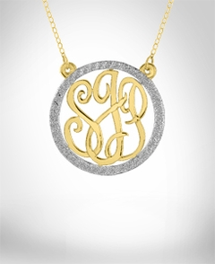 Personalized Monogram Necklace with CZ - 1 1/4""