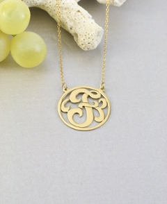Gold Personalized Encircled Single Initial Monogram Necklace