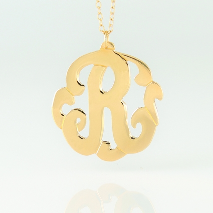 Gold Personalized Single Initial Monogram Necklace