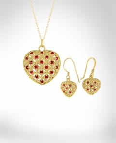 Puff Heart Pendant with 20 Stone and Earrings Set