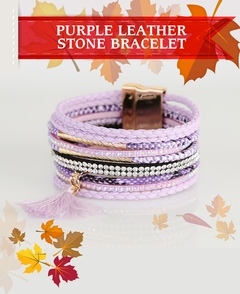 Purple Leather  Stone Bracelet