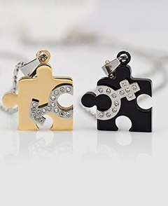 Puzzle Couple Pendants with Stones