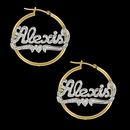 Rhodium Beaded Name Hoop Earrings