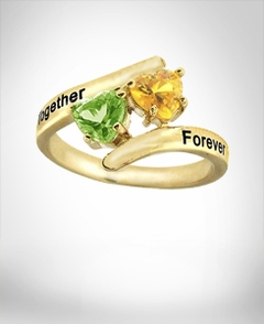 "Ring ""Together Forever"" with Two Birthstones"