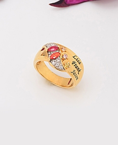 Ring with Oval Shaped Stones and Beading