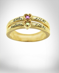 Ring with Two Birthstones & Engraving