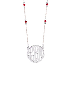 Script Monogram Necklace with Beads Chain