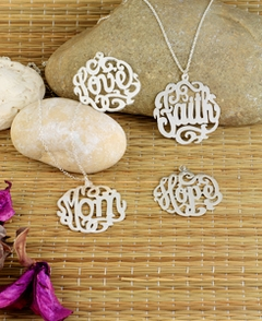 "Scripted name necklace ""Mom"" ""Faith"" ""Hope"" ""Love"""